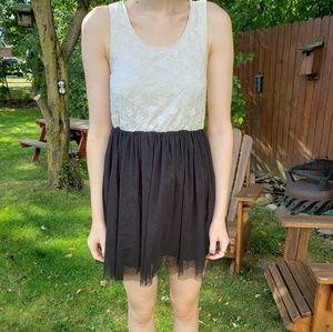 Black & White Lace Top Mini Dress
